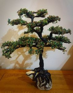Wire and bead tree sculpture tree of life bonsai tree. Resin Coating, Tree Sculpture, Tree Of Life, Bonsai, All Things, My Etsy Shop, Christmas Tree, Wire, Holiday Decor