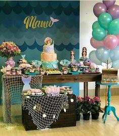 Doğum günü Baby Party, Baby Shower Parties, Mermaid Cakes, The Little Mermaid, Little Mermaid Birthday, Little Mermaid Parties, Mermaid Pool, Mermaid Baby Showers, Birthday Cake