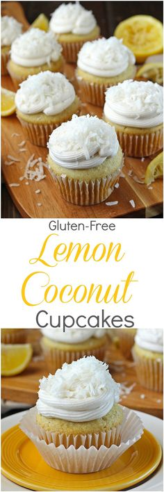 gluten-free Lemon Coconut Cupcakes - Delicious but simple vanilla cupcakes are stuffed with a homemade lemon curd and topped with a delectable coconut buttercream in these gluten-free Lemon Coconut Cupcakes!