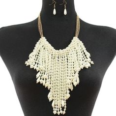 Ivory Color Waterfall Fringe Pearl Necklace Set Elegant Jewelry