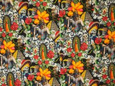 Mexican catrinas virgin of Guadalupe warriors cactus Mexico Wallpaper, Alexander Henry Fabrics, How To Make Clothes, Tequila, Black Backgrounds, Printed Cotton, Cactus, Cotton Fabric, Prints