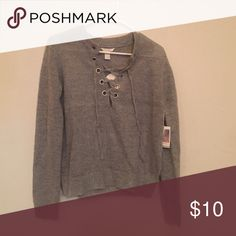 Gray lace-up sweater Gray lace-up sweater. Super soft and comfortable. Never been worn. Forever 21 Sweaters Crew & Scoop Necks