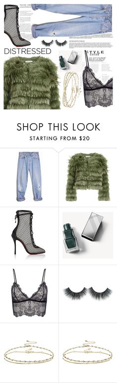 """""""True Blue: Distressed Denim"""" by indhrios ❤ liked on Polyvore featuring Levi's, Alice + Olivia, Christian Louboutin, Burberry, Anine Bing and ASOS"""