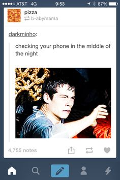 Lol even in Day time. I hate my phone bright so I keep the lighting down Lol And I'm also pinning this because of my favorite actor this year (2013-2015) Dylan O'Brien