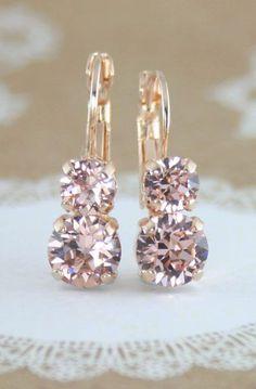 blush crystal earrings