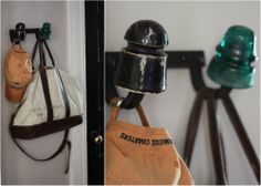 coat rack with old glass insulators