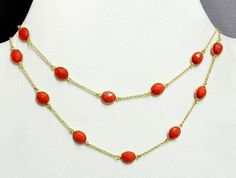 Orange Chalcedony Bezel Setting Brass Gold Plated Long Chain Gemstone Necklace #Handmade #Chain