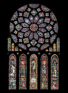Rose window and lancets in north transept Cathedral Chartres, France.