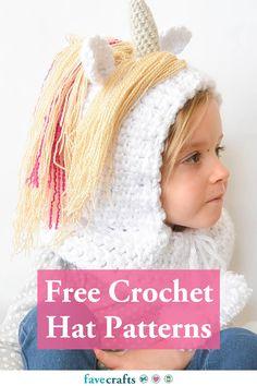 48 Free Crochet Hat Patterns Crochet Baby Hat Patterns, Crochet Baby Hats, Free Crochet, Hood Pattern, Free Pattern, Crochet Hood, Slouchy Hat, Magical Unicorn, Learn To Crochet