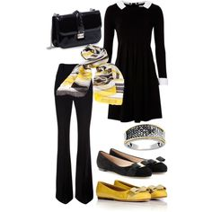 A fashion look from February 2013 featuring Hobbs dresses, Alexander McQueen pants and Salvatore Ferragamo flats. Browse and shop related looks.