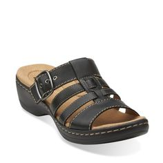 dc1133890e0 Hayla Cavern Black Leather - Womens Collection - Clarks Slide Sandals