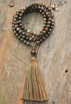 Mala necklace made of 108, 10 mm - 0.394 inch, very beautiful faceted rhyolite gemstones and decorated with cherry quartz, hematite and jade - look4treasures on Etsy