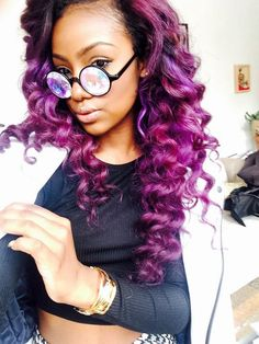Justine Skye Purple Hair by carrie Look Girl, Up Girl, Love Hair, Gorgeous Hair, Remy Hair, Hair Dos, Weave Hairstyles, Pretty Hairstyles, Color Fantasia