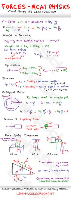 Mcat physics forces study guide cheat sheet by Physical Science, Science Education, Physics Cheat Sheet, Physics Notes, Study Physics, Basic Physics, Physics Formulas, Calculus, Study Notes