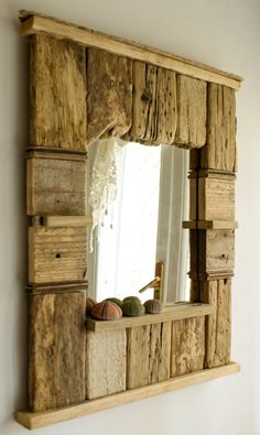 Decorative Mirror Driftwood Mirror Beach Cottage by MarzaShop
