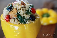 Gluten-free chicken and quinoa stuffed peppers with goat cheese