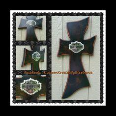 Distressed Harley Davidson Wall Cross