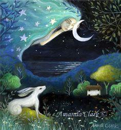 Sogno di luna. Un'arte stampa rom un dipinto originale di Amanda Clark 20 x 20cm