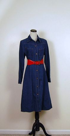 Western Denim Vintage Dress by CheekyVintageCloset on Etsy, $32.00