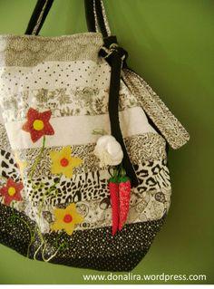 bolsa de patchwork e bordado