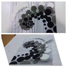 Geometrik şekillere derinlik ve ritim algısı oluşturan çalışmam