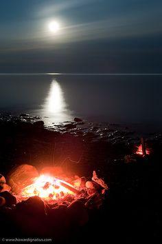 Campfire in Moonlight, Castle Danger, MN, USA by howardignatius, via Flickr