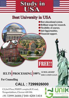 STUDY IN USA- UNIK Global Services A global leader in the field of education. #studyabroad, #overseaseducation, #abroadeducation, #freeeducation, #freecounceling, #examandcoaching, #careercounceling, #freeielts, #studyinusa