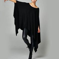 April Spirit Boho Asymmetrical Black Tunic April Spirit OSFM jersey knit and super soft and comfortable. Sleeves can be long or Perfect with leggings, especially leather! I kept one for myself and I'm 3 available! Black Tunic, Asymmetrical Tops, Basic Tops, Flowy Tops, Summer Dresses For Women, Types Of Sleeves, Casual Dresses, Sexy, Dark Mori
