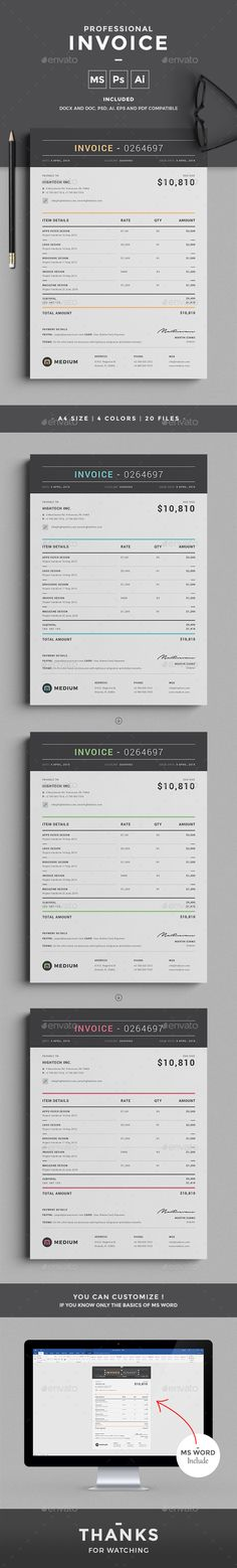 Invoice by design-park This professional clean Invoice template will help you in your business to save time, organize you product data and customers info