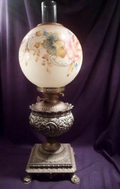 Hinks Sons Cast Metal Duplex Oil Lamp Glass Globular Hand Painted Shade | eBay