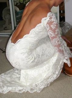 long sleeve lace open back wedding gown- dream dress, need this so i can cover my tattoo to respect my family :)