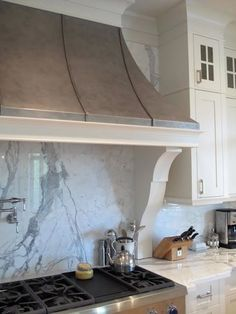 How about something like this for our country chic kitchen range hood? love the marble backsplash Kitchen And Bath, New Kitchen, Kitchen Ideas, Kitchen Design, Kitchen Inspiration, Kitchen Time, French Kitchen, Kitchen Interior, Interior Inspiration