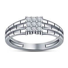 White Platinum Over Rd Sim Diamond Men's Wedding Attractive Mine Stone Band Ring #NineStoneMensRing