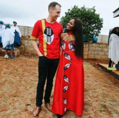 Girl In Swati Emahiya Traditional Attire With Beaded Neckpiece - Clipkulture Xhosa Attire, African Attire, African Fashion Ankara, African Print Fashion, Traditional African Clothing, Traditional Dresses, Red Tulle Skirt, Traditional Wedding Attire, South African Weddings