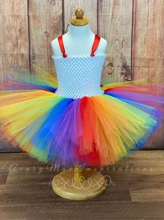 Rainbow Birthday Outfit, Primary Rainbow Tutu Dress, Brite Rainbow Party Skirt, Carnival Toddler Bright Clown Costume, Birthday Outfit by AvaryMaeInspirations on Etsy