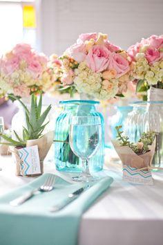 Aqua and Pink table-setting