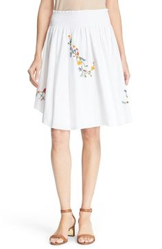 TORY BURCH 'Cassie' Embroidered Skirt. #toryburch #cloth #