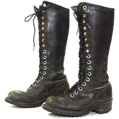 aaff848bd1a 80s Lace Up Knee High NaNa Campus Boots Vintage 1980s Tall Distressed... (