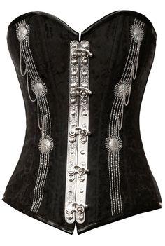 Black brocade corset steampunk silver