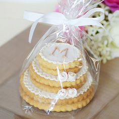 personalized stacked wedding cookie cake!