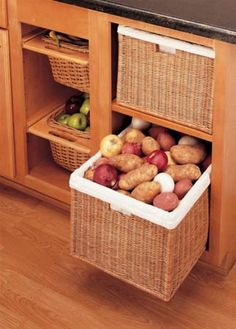 Are these large enough for laundry basket in our new open cabinets by washer/dryer? Rev-A-Shelf - Rattan Organizer Basket with Canvas Liner Sink & Base Accessories Kitchen Cabinet Organization, Kitchen Storage, Home Organization, Kitchen Decor, Kitchen Design, Pantry Storage, Fruit Storage, Vegetable Storage, Storage Baskets