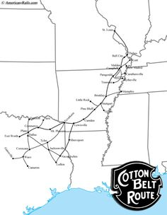 The Cotton Belt, officially known as the St. Lous with Texas and was a SP subsidiary since Train Map, Train Route, System Map, Metro Map, Train Posters, Railroad Pictures, Railroad History, Old Maps, Train