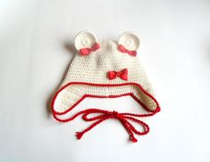 White and red set mouse hat  autumn set spring set by InaCrochet, $40.00