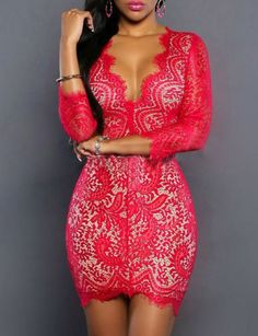 #fashion #accessories Sexy Plunge Bodycon Mini Lace Dress in Crop Sleeve   Rose by Moda Tendone - Sexy Dress Clothes, Fashionable, Rose, Sexy Dress, Women