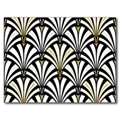 Digital reproduction of a classic, Art Deco wallpaper, fan pattern - white on black, embellished with gold