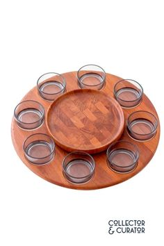 Digsmed Teak Lazy Susan with Round Glass Dishes Lazy Susan, Glass Dishes, Mid Century Modern Design, Teak, Round Glass, Mid-century Modern