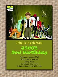 BEN 10 Printable INVITATION DIY Text Editable - PDF File in Adobe Reader  #SweetieCakeToppers #AnyOccasion