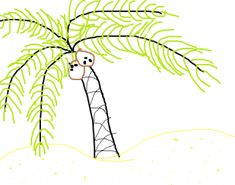 Trees - how to draw a palm tree easy Online Coloring For Kids, Art Postal, Beach Watercolor, Drawing For Kids, Craft Activities, Palm Trees, Coloring Pages, Drawings, Easy