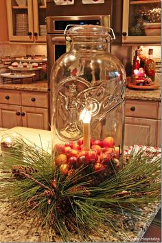 Mason Jar decorated for Christmas Feature Friday: Marc's Christmas House Tour! Prim Christmas, Christmas Candles, Christmas Centerpieces, Vintage Christmas, Christmas Holidays, Christmas Crafts, Christmas Island, Christmas Ideas, Christmas Oranges