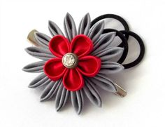 gray and red Kanzashi flower hair clip with velvet loops by Scarlett and Maria